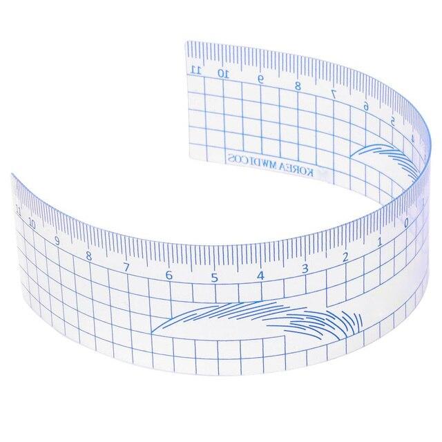 1PC Reusable Semi Permanent Eyebrow Ruler Eye Brow Measure Tool Eyebrow Guide Ruler Plastic Eyebrow Calliper Stencil Makeup 1