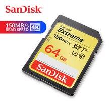 SanDisk carte mémoire extrême SDXC carte SD 64GB C10 U3 V30 150 mo/s vitesse de lecture UHS I 4K UHD pour appareil photo (SDSDXV6 064G ZNCIN)