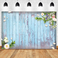 NeoBack Wood Pinewood Backdrop Sky Blue Flowers Photography Background Birthday Party Banner Backdrops