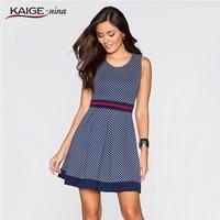 New 2015 Summer Women Casual Dress Polka Dot Printing Lapel Sleeveless Low Cut Dress Big Swing