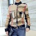 Xadrez Gola Camisa Ropa Mujer Plus Size Pockets Moda Feminina Fina Durante Todo o Jogo Luva Cheia Botão de Camisa Feminina