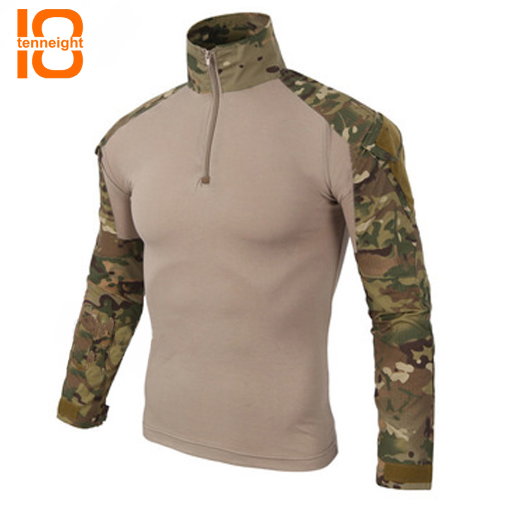 TENNEIGHT Camouflage T-Shirt hommes militaire Combat tactique T-Shirt à manches longues séchage rapide respirant soldats chasse T-shirts