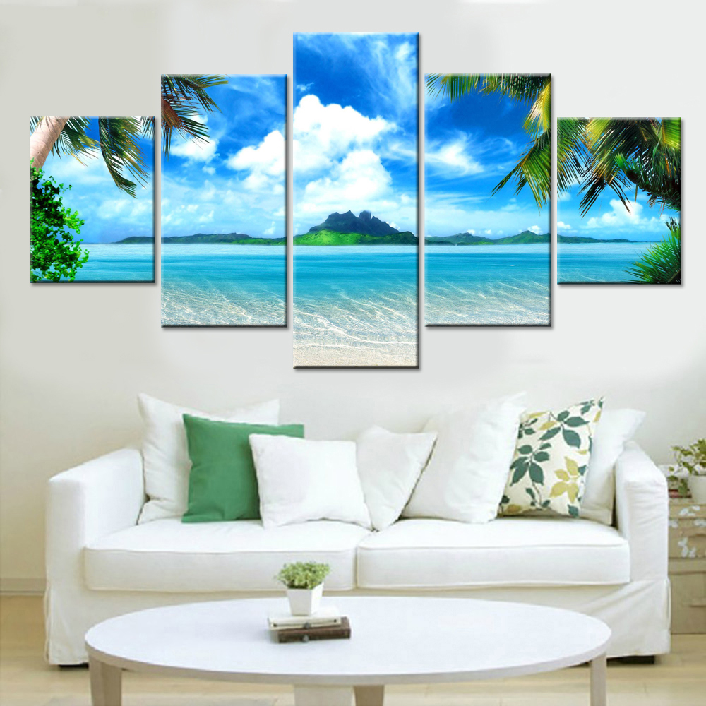 Wall Art Canvas Painting Beach Blue Seascape Pictures For