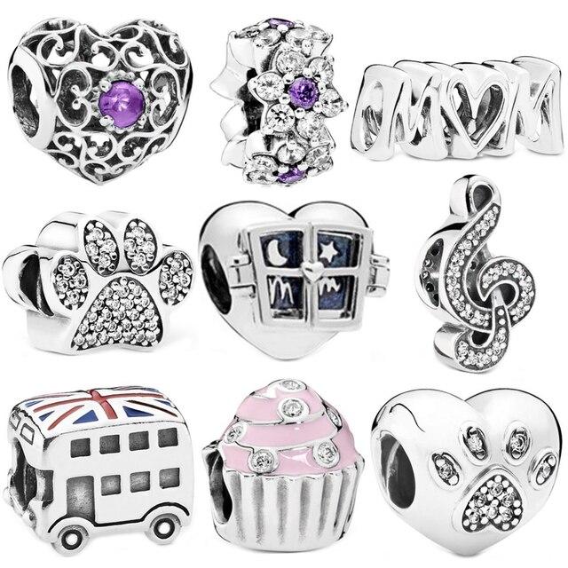 Simple Style Window MOM Cake Footprint Love Beads Fit Original Pandora Charm Bracelets Necklaces Women DIY Making Jewelry