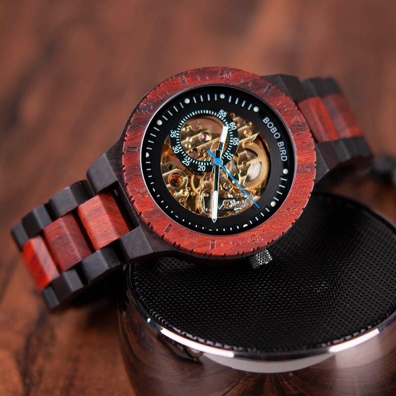 BOBO oiseau en bois montres hommes automatique mécanique montre-bracelet étanche mâle forsining dans cadeau boîte en bois masculino montre - 3