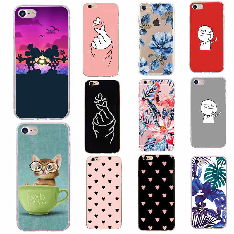 Soft Silicon Case Voor iPhone 6 6s Case Leuke Cartoon Mode Coque Telefoon Back Cover Voor Apple iPhone 7 plus 8 Plus SE 5 5S X 10