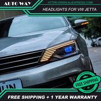 Car Styling Head Lamp case for VW Jetta 2011 2017 LED Headlights VW Jetta LED Headlight H7 D2H HID Angel Eye Bi Xenon Beam