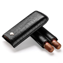 Cigar case crocodile skin embossed cigar moisturizing portable holster can store 2 sticks gift boxes CF-0304