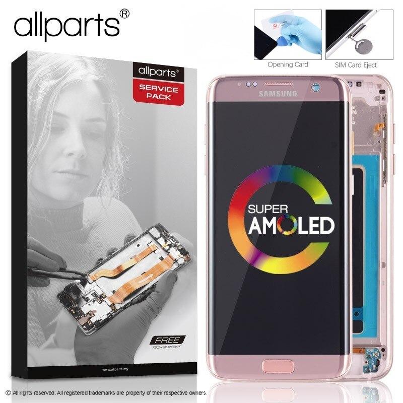 Original Amoled G935F S7 borda borda LCD Screen Display para SAMSUNG Galaxy S7 Display Touch Substituição Da Tela Azul de Ouro Preto