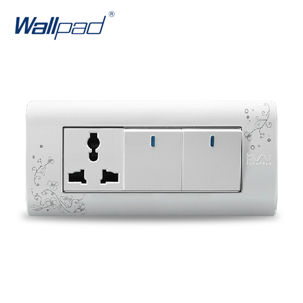 2018 Hot Sale 2 Gang 3 Pin Socket Wallpad Luxury Wall Switch Panel Plug Socket 154*72mm 10A 110~250V 2018 hot sale 6 pin multifunction socket wallpad luxury wall switch panel plug socket 118 72mm 10a 110 250v