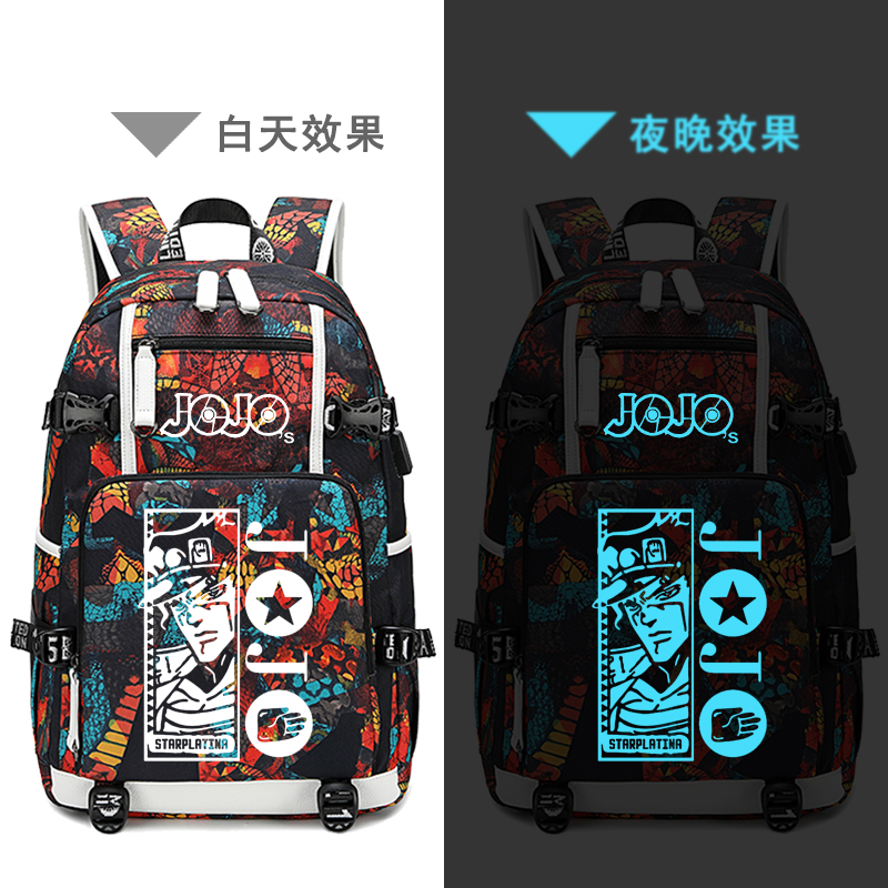 Street Style JoJo's Bizarre Adventure Oxford School Bags USB Charging Laptop Backpack Waterproof Travel Backpack Canvas Bags