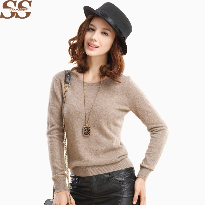 SPARSHINE Women Cashmere Sweater And Pullovers 20 Colors Ladies Tops Female Christmas Sweater Long Sleeve Winter Knitted Sweater
