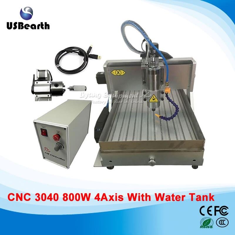 110v 220v 4 Axis 800W usb CNC 3040 Water Tank CNC Router CNC machine Milling machine cnc 5axis a aixs rotary axis t chuck type for cnc router cnc milling machine best quality