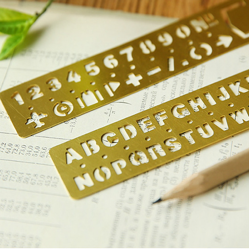 100PC Brass Engraving Ruler With Gorgeous English Letter Number Punctuation Match For Planner Filofax Notebook