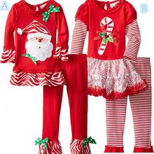 Christmas Dress Up Girls Boys Dress Up Santa Cloth Dresses Striped Net Shirts + Bell Bottoms Christmas Festive Set