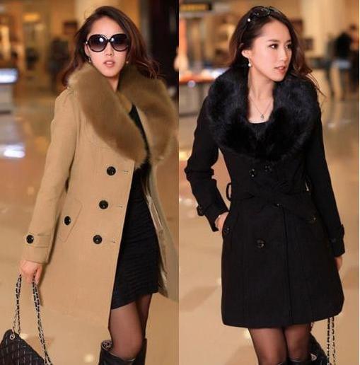 Winter Coat Women Collar Double Breasted Wool Coat Outerwear ...