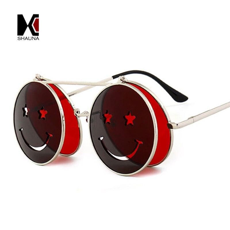 4c67bf294 SHAUNA Bonito Rosto Sorridente Mulheres Homens Dobráveis óculos de Sol Do  Punk Único Duplo Lente Tinted Óculos Steampunk UV400 em Óculos de sol de ...
