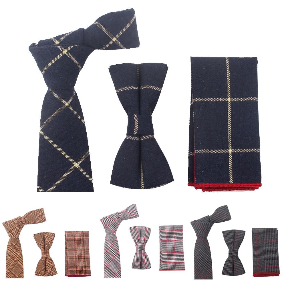 New Casual  Cotton Ties Bowtie Set For Men Gravatas Slim Suits Vestidos Necktie  Bow Ties Pocket Square Sets Party Ties