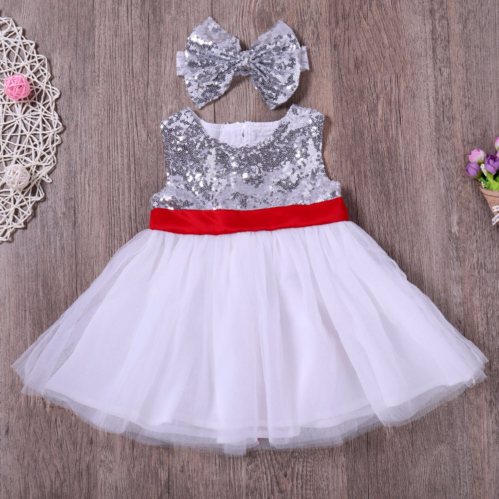Cute baby girl dress 2018 sleeveless silver bling sequin pitchwork tulle backless baby girl dress with bowknot headband