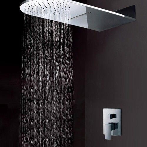 Modern Bathroom Solid brass Wall Mount Waterfall Rain Shower System Shower Head ChromeShower
