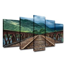 Wall Art Living Room Home Decor Printed Pictures 5 Panel Railway Hills Forest Scenery Modern HD Frame Canvas Painting Poster