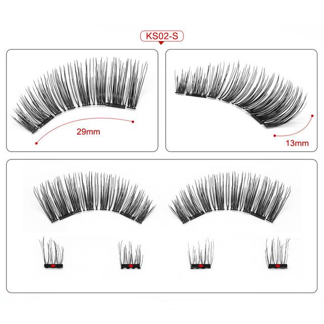 Genailish 3D Magnetic Eyeashes false eyelashes 1 pair 3d eye lashes extension lashes natural custom packaging Box Acrylic SCT05 3