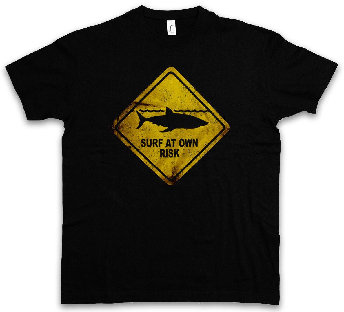Мужская хлопковая футболка короткий рукав Акула Предупреждение знак майка Surfer Surfinger Diver Taucher челюсти тигр белый убийца