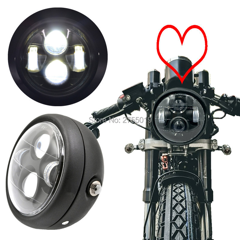 buy universal round 6 1 2 aluminum motorcycle led headlight motorbike lamp hi. Black Bedroom Furniture Sets. Home Design Ideas