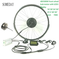 SOMEDAY E bike conversion kit 48V500W waterproof cable easy install EBIKEfront wheel hub motor with LCD3 display