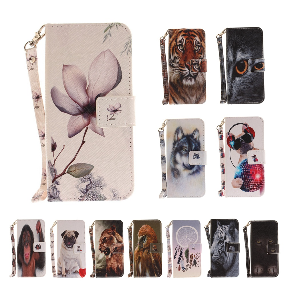 XBXCase Wild Animal PU Leather Wallet Flip Cover Case for iPhone 6 6S 7 8 Plus X 5 5S SE Shell Coque Case With Stand Card Holder