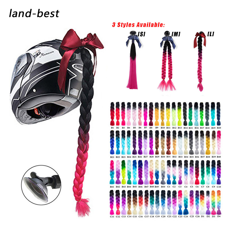 2019 New Motorcycle Helmet Braids Woman Braids Wig For Motorbike Helmets 17 Colors Twist Dual Pigtail Ponytail With Sucker Bow