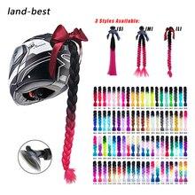 2019 Новый мотоциклетный шлем косички женский парик с косами для мотоциклетных шлемов 17 цветов твист двойной конский хвост с присоской лук