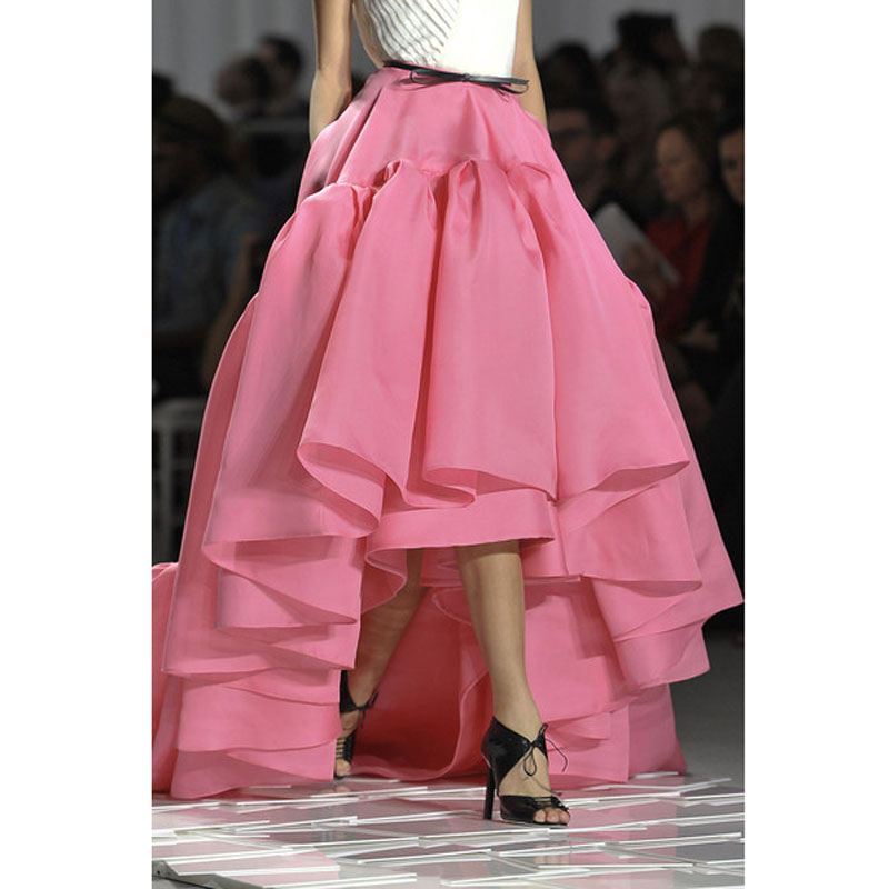 Super Puffy High Low Long Skirts Black and Pig Pink Empire Waist Chic Evening Party Skirt for Women American Personality Apparel