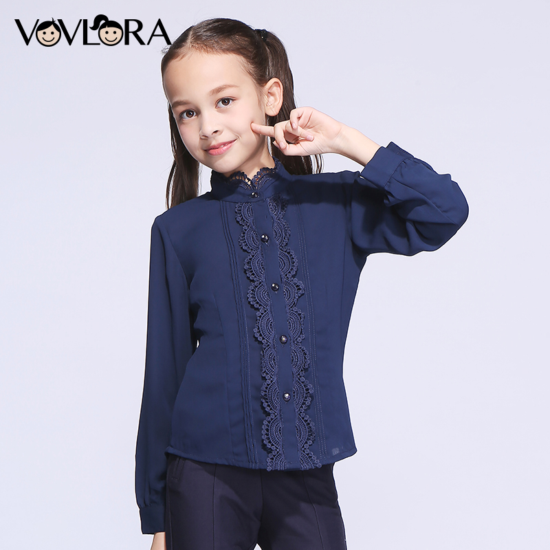 Kids School Blouses Solid Lace Shirt Sleeve Children Blouse Woven Button Turtleneck Girls Clothes Size 7 8 9 10 11 12 13 14 Year button up frilled puff sleeve blouse