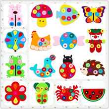 DIY Crafts For Kids Handmade Non-woven Material Felt Toy with Button Flowers Christmas Children 16 Style of