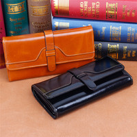Brand Designer Genuine Leather Wallet Women Clutch Fashion Wallets Female Cowhide Leather Long Walet Female Phone Purse Vallet