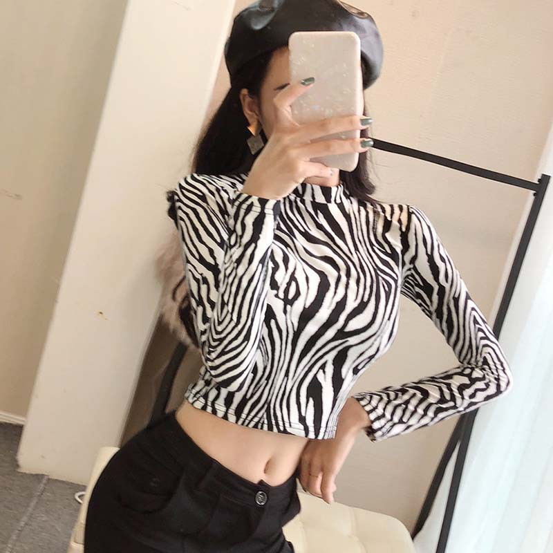 Fashion Sexy High Street Ladies Zebra Leopard Animal Print Shirts Women Turtleneck Long Sleeve Stretch Female Tops