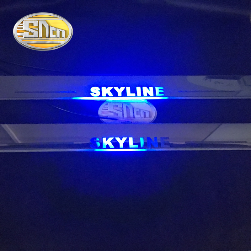 SNCN 2PCS Car LED Door Sill For Nissan Skyline R32 R33 R34 R35 Ultra thin Acrylic Dynamic LED Welcome Light Scuff Plate Pedal-in Decorative Lamp from Automobiles & Motorcycles    2