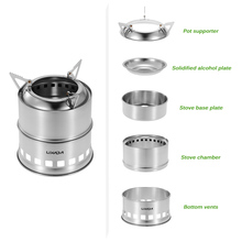 Lixada  Portable Stainless Steel Wood Stove Lightweight Solidified Alcohol Outdoor Cooking Picnic BBQ Camping