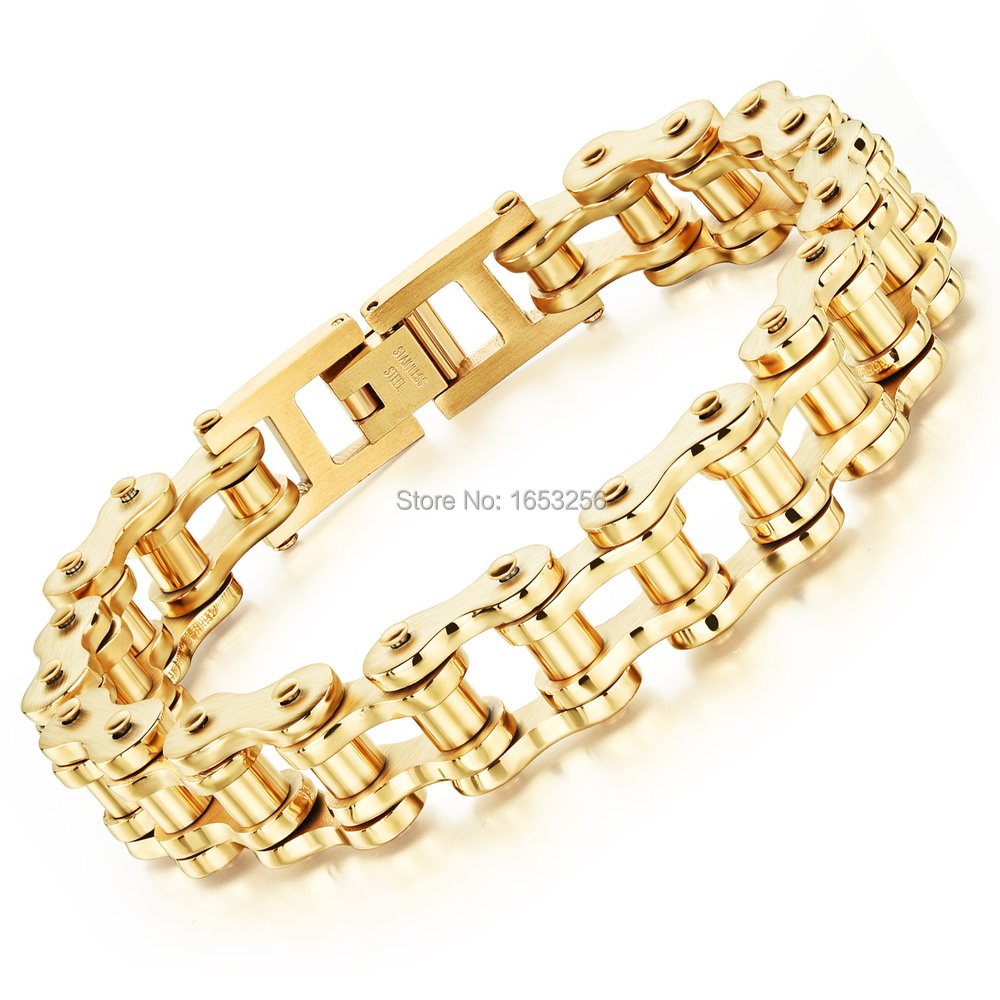 846'' 13mm Gold Stainless Steel Motorcycle Chain Design Bicycle Bike Chain  Bracelet Women Men