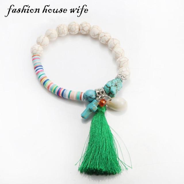 256cda3b614e Bohemia colorido Fimo Cuentas pulsera hecha a mano para las mujeres moda  piedra Conchas borla verde