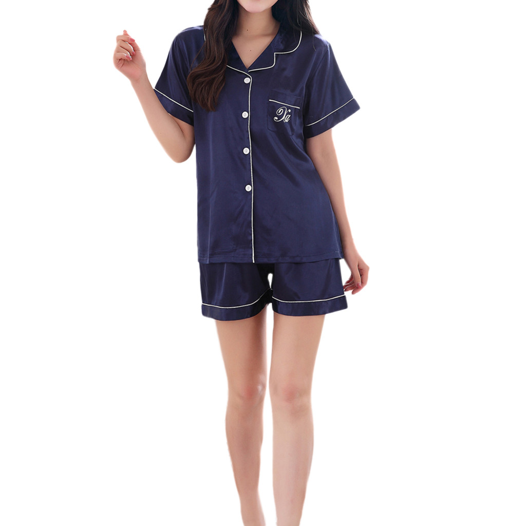 Nightwear For Sexy Ladies Women's Casual Spring Pure Color Short Sleeved Comfortable Home Pyjamas Set #G40