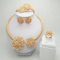 Königreich Ma Nigerian Hochzeit Braut Afrikanische Gold Farbe Schmuck-Set Dubai Halskette Armband Ohrringe Ring Sets