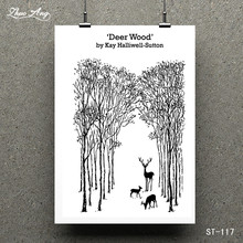 ZhuoAng Deer Wood by Kay Halliwell-Sutton Transparent and Clear Stamp DIY Scrapbooking Album Card Making Decoration