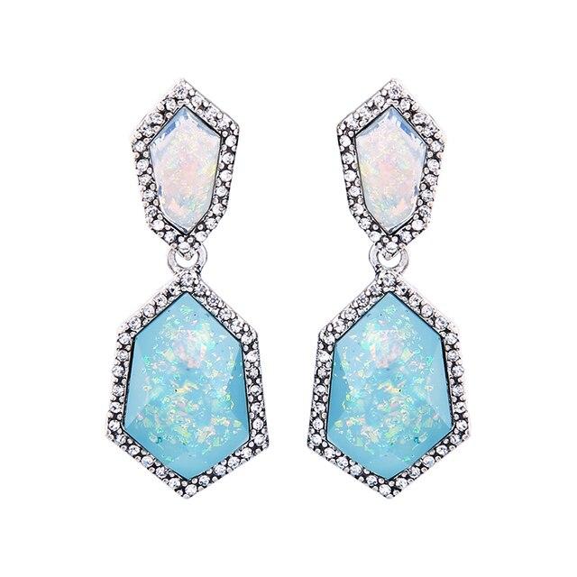 Geometric Resin Dangling Light Blue Earrings For Women Crystal Inlay Fashion Indian Jewelry