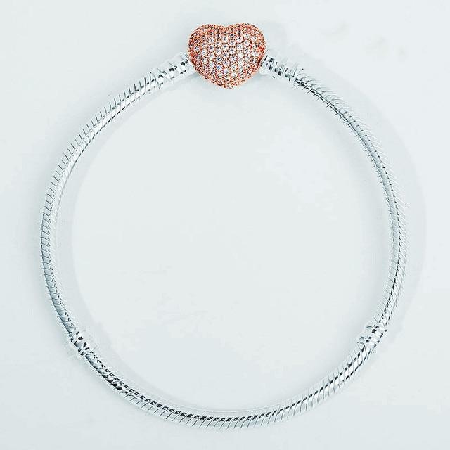 Authenetic 925 Sterling Silver Pandora Bracelet Rose Gold Heart