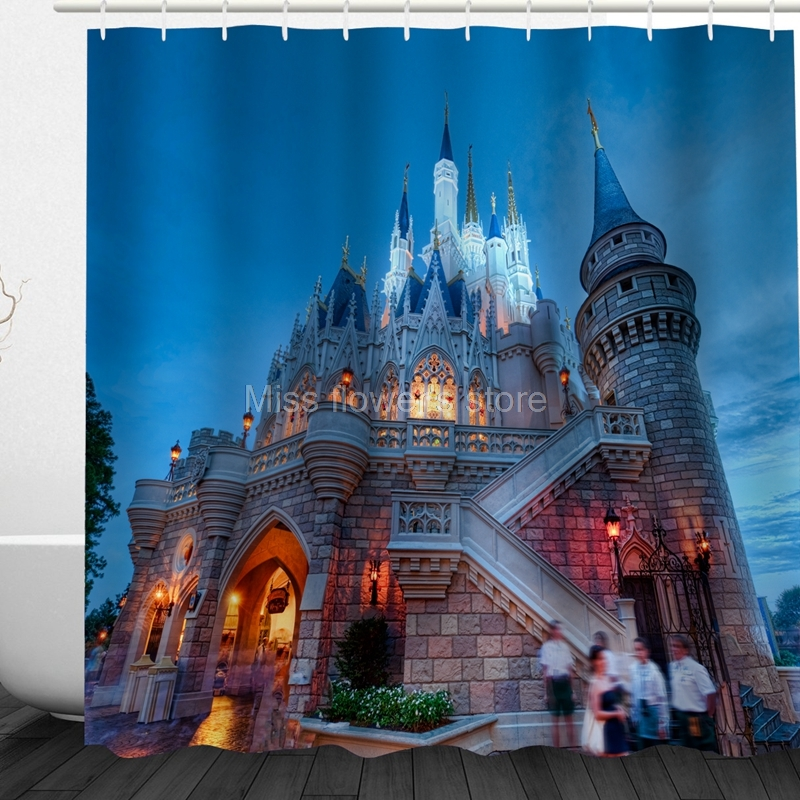Hungarian Night View Palace Building Design Custom Shower Curtains Bathroom Waterproof Mildew Polyester Fabric + 12 Hooks ...