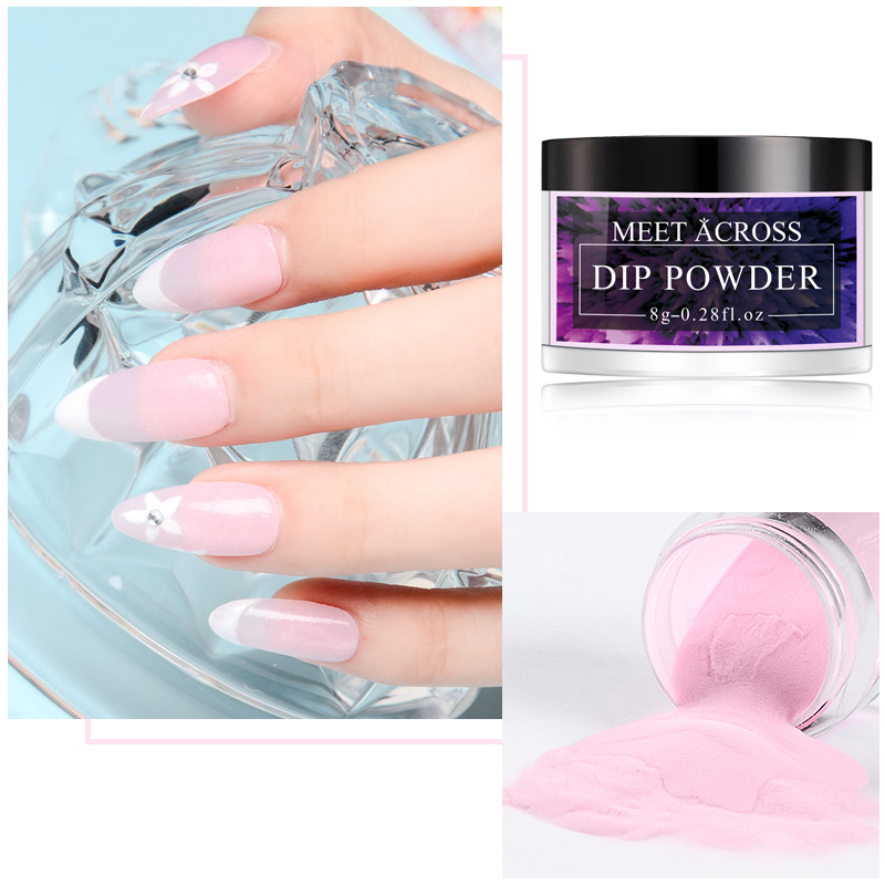 Image 4 - MEET ACROSS 8g Matte Color Dipping Nail Powder Colorful Nail Dipping System Powder Decoration Dip Powder Without Lamp-in Nail Glitter from Beauty & Health