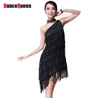 Ladies One Shoulder Fringe Affordable Tango Latin Ballroom Dance Team Competition Flapper Fancy Bridesmaids Dresses Wear Costume