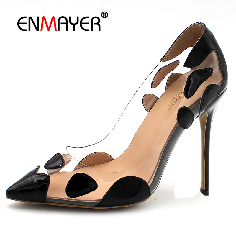ENMAYER Golden Shoes Woman High Heels Pointed Toe Shallow Pumps Mixed Colors Slip-on Plus Size 34-43 Sexy Red Wedding Shoes enmayer pointed toe sexy black lace party wedding shoes woman high heels shallow pumps plus size 35 46 thin heels slip on pumps